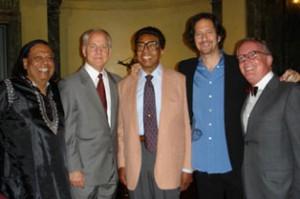 Badal Roy, Bruce Stevens (Steinway CEO), Dr. Billy Taylor, Michael Wolff, Peter Goodrich (Steinway VP)